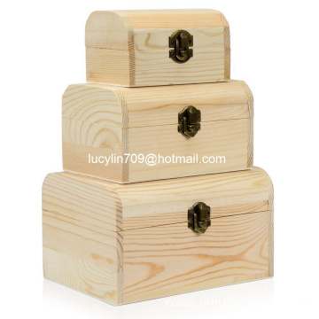 3 x Plain Unpainted Wooden Treasure Chest Jewellery Storage Wood Box Case Set