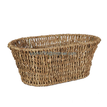 Tall Oval Sea Grass Utility Storage Basket