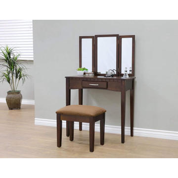 Wood 3 Pc dresser mirrored dressing table