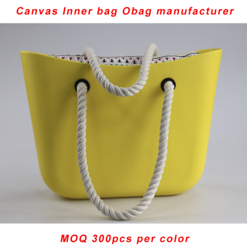 Custom Yellow Obag Rope Handle With Canvas Insert