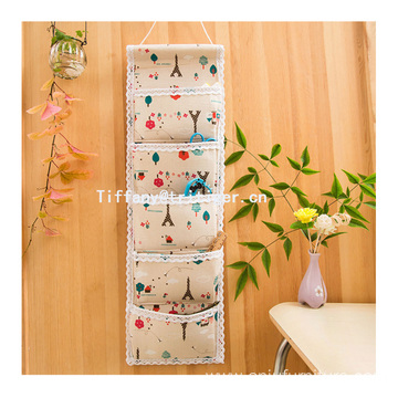 Fashion hanging wall pocket storage organizer 100% cotton wall organizer 6 pockets