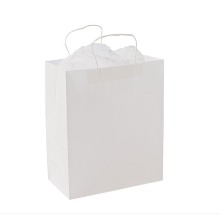 Discount Price Pet Film for Paper Shopping Bags With Handles White Kraft Paper Bag With Handle supply to Mayotte Wholesale