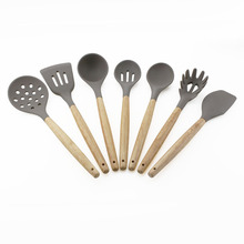 7PCS Silicone Wood Handle Cooking Utensil Set