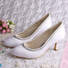 China for China  Satin Bridal Shoes ,Women Satin Shoes ,Satin Lace Edge Bridal Shoes  Manufacturer Customized Satin White Shoes for Wedding supply to Italy Wholesale
