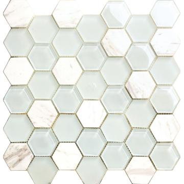 White Marble Crystal Glass Hexagon Mosaic
