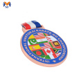 Rose gold colorful enamel medal custom ribbons