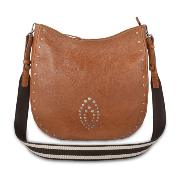 Tan Color Cognac Brown Medium Female Crossbody Bag