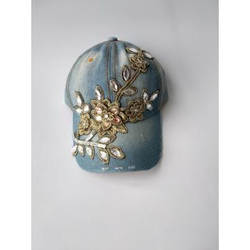 Sequin Embroidery Women Heavy Washing  Denim Cap