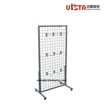 Wire Mesh Display Rack with Hooks