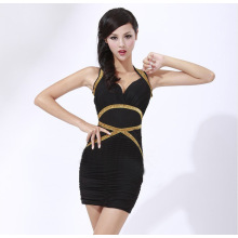 V-neck Women's dress Nightclub dress Package buttocks cultivate one's morality