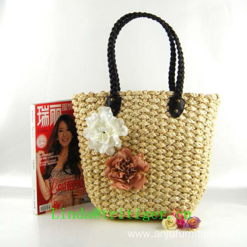 Authentic design straw corn husk weave hand knit bag