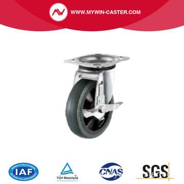 Nylon Elastic rubber caster with Side Brake