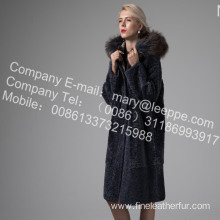 Long Fur Coat With Mink Flower In Winter