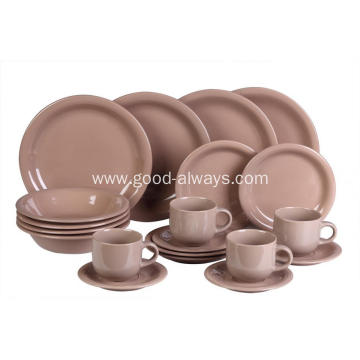 20 Pieces Stoneware Dinnerware Set Brown Color