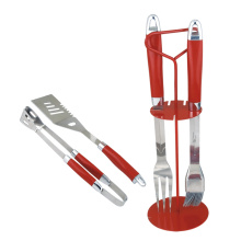 professional factory provide for Grill Accessories 4pcs red bbq tools set in wire rack export to Armenia Manufacturer