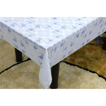 Printed cream pvc lace tablecloth by roll