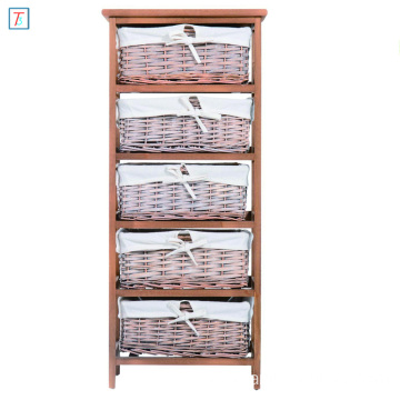 5 Drawer Storage Unit Wooden Frame with Wicker Woven Baskets Household Cabinet Chest