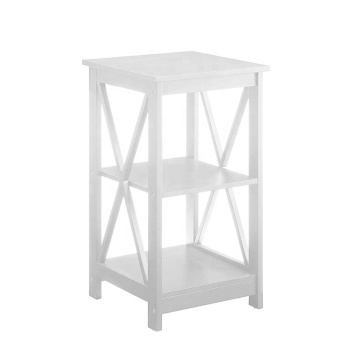 Convenience Concepts Oxford End Table White Wood Cabinet