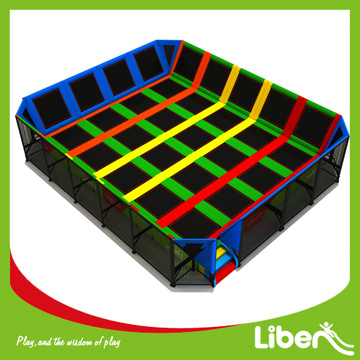 Set up indoor trampoline arena