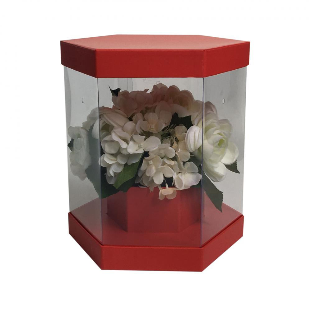 Hexagonal plastic clear valentine flower box