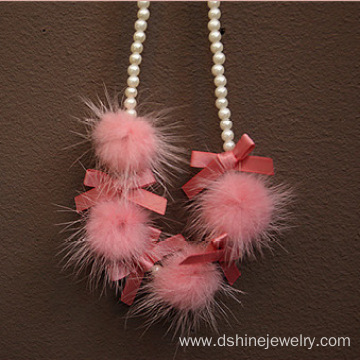 Cute Candy Color Pom Pom Pearl Ribbon Knot Necklace For kids