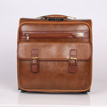 Popular carry on Stock PU leather travel luggage