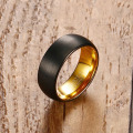 Black and gold tungsten carbide mens wedding rings
