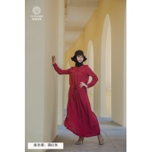 Wine red Round neck fashion Dress