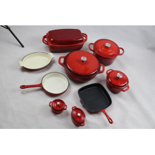 Customized for Outdoor Enamel Cookware Set 15pcs Complete Cook And Bakeware Sets export to France Factories
