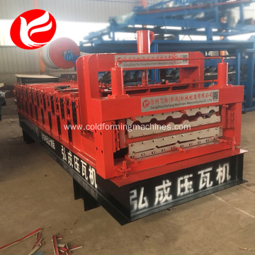 Double deck layer roofing sheet rolling machine