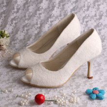 Elegant Open Toe White Heels for Wedding