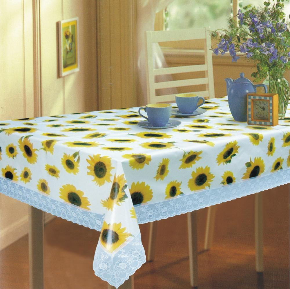 Peva flannel table cloth with 3 lace