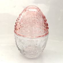 Beaded And Flower Decoration Egg Shapped Candy Jar