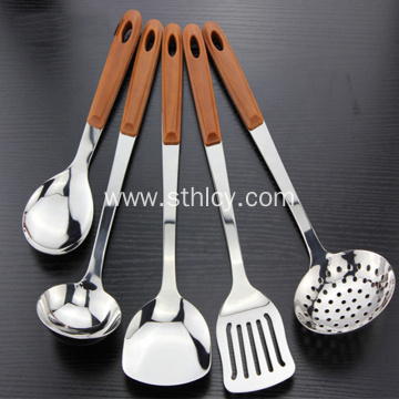 Wooden Handle Steel Utensil Set