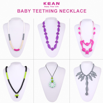 OEM design simple silicone baby teething necklace