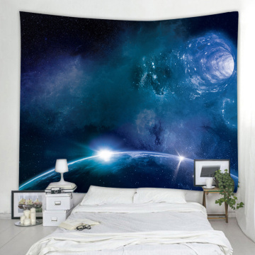 Starry Tapestry Galaxy Tapestry Night Sky Wall Hanging Earth Star Hole 3D Printing Wall Art for Living Room Bedroom Home Dorm De