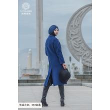 Long Wind resistance Blue Fashion coat