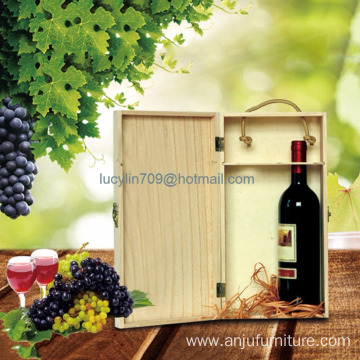Retro Double Bottle Wooden Wine Packaging Box Whisky Grape Bottle Wood Box Gift