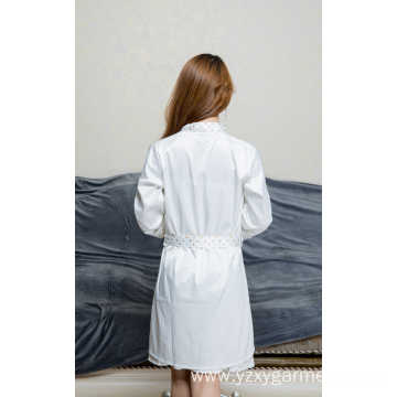 White satin nightdress with point print for women