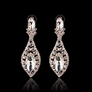 Women's Crystal Flower Dangle Earrings For Wedding