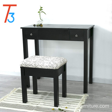 Vanity Table Set Makeup Jewelry Flip-top Mirrored Dressing Table Stool Set, Black