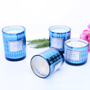 Candles with Blue Color Glass Jar Candle