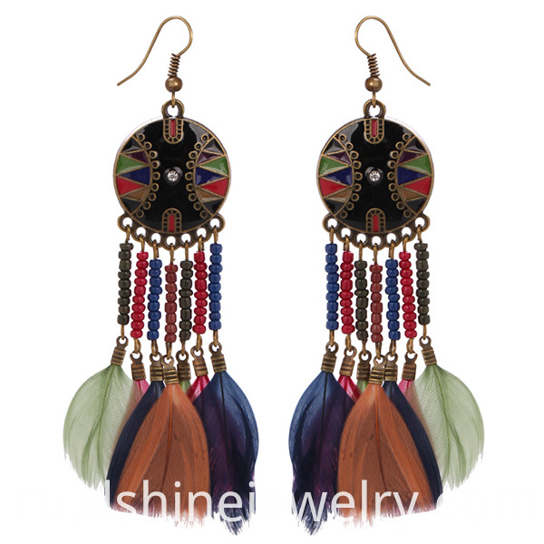 Wholesale Beaded Style Feather Earrings