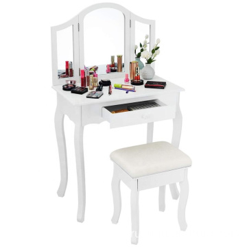 Bathroom Vanity Makeup Table Set Tri-Folding Stool Dressing Table (White)