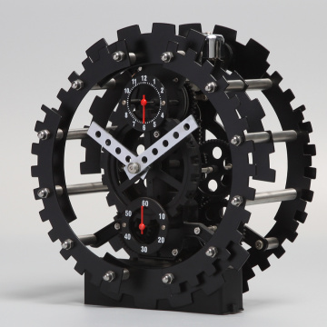 Black Round Gear Alarm Clock With A Pedestal