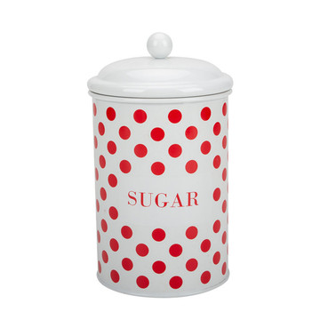 Cream round red dotted canister set