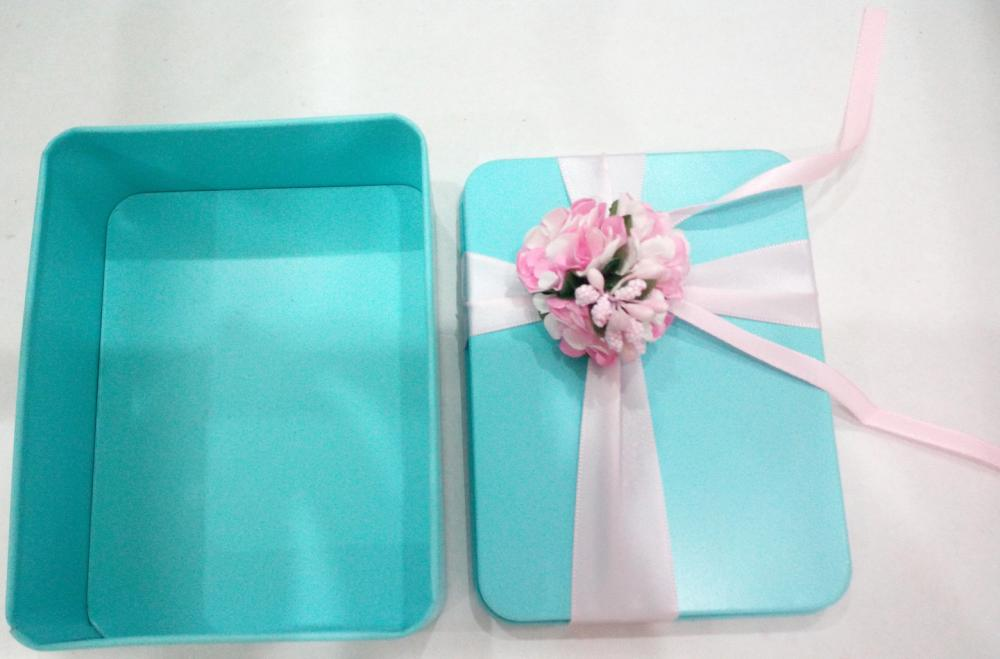 Bule Rectangular Tin Box with Flower decoration