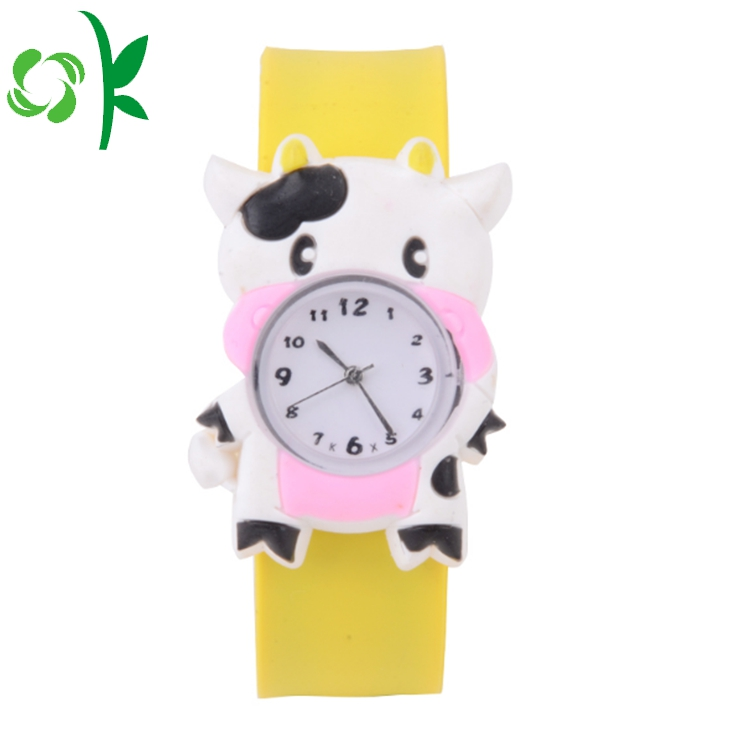 Cow Shape Slap Cartoon Bracelet With Watch 4