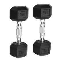 China for Crossfit Rubber Dumbbell 15LB Black Rubber Hex Dumbbell export to South Korea Supplier