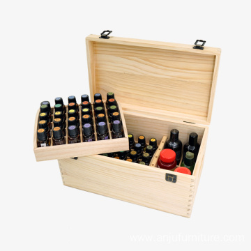 Pine Wood 2 layers Essential Oil Box with 66 compariments